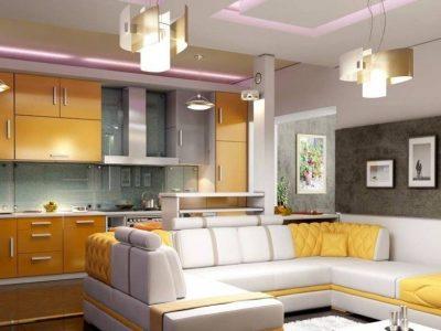 Дизайн гостиной, совмещенной с кухней: кухня-гостиная в квартире или доме