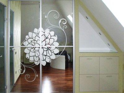 Шкаф с пескоструйным зеркалом