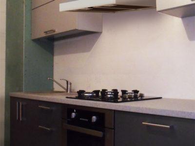 Узкая кухня с пластиковыми фасадами