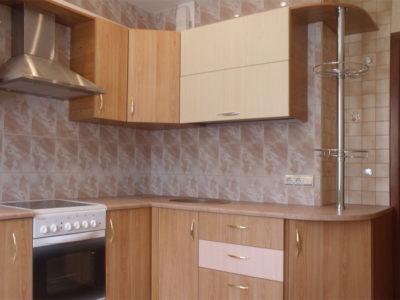 Небольшая угловая кухня с пластиковыми фасадами